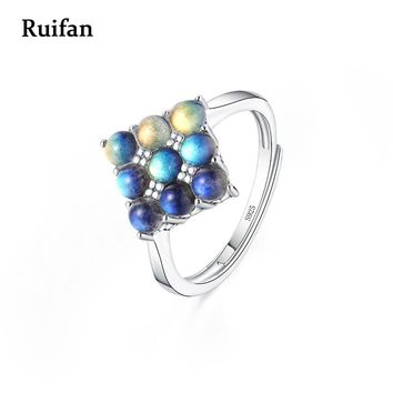 Ruifan Silver 925 Ring Square 9 Pieces Round Natural Moonstones Rings Gemstone Labradorite Ring Accessories Women Test YRI035