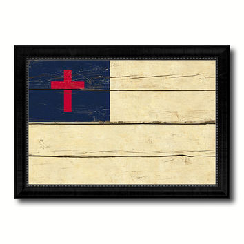 Kayso Christian Religious Military Flag Vintage Canvas Print with Black Picture Frame Home Decor Wall Art Decoration Gift Ideas
