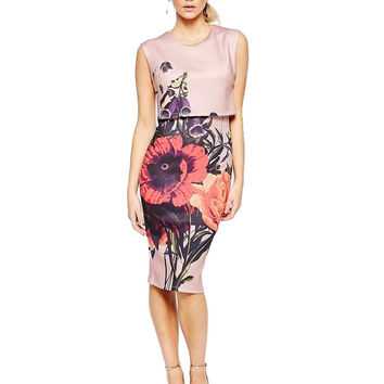 Women Sweet Flower Print two pieces sheath Dresses Hot Brand O-Neck Sleeveness Ladies Vintage knee length shift Dress QZ2322