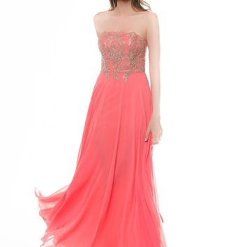 Glow by Colors - G634 Embellished Straight Neck A-line Dress