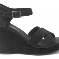 Black Suede Women's Strappy Wedges