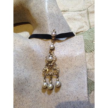 Vintage white Pearl 925 Sterlng Silver choker necklace