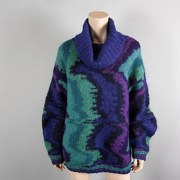 Vintage 80s Geometric Fuzzy Mohair Wool Jumper Sweater New Wave Cowl Neck Oversize Novelty Grunge Boho Ski Party Pappagallo size L