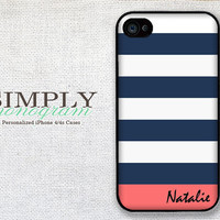 iphone 4 case - plastic or silicone rubber - nautical striped name monogram
