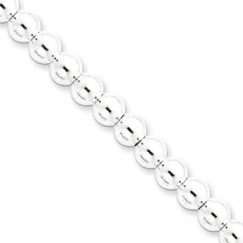 Men's 6mm, Sterling Silver, Hollow Beaded Chain Necklace, 18 Inch
