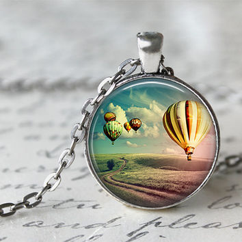 Hot Air Balloon Necklace, Wanderlust Necklace, World Traveler Necklace
