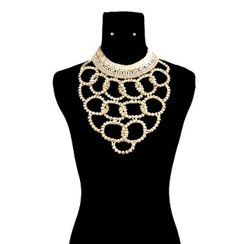 Chunky Gold Loop Chain Bib Necklace Set