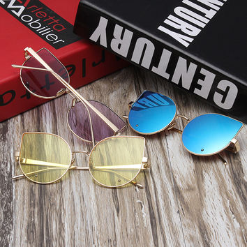 Gold Metal Ladies Stylish Vintage Metal Sunglasses [6471700740]