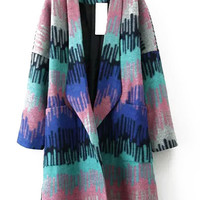 Multi-Color Lapel Long Coat