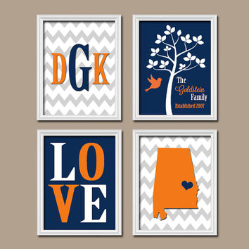 Alabama Family College Waco University Monogram State Couple Wedding Gift LOVE Bird Tree Established Date Set 4 Prints Wall Art
