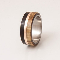 mens wedding band titanium ring with wood ebony olive copper stripe