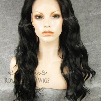 """24"""" Synthetic Lace Front with Wave Texture in Darkest Brown/Off Black"""