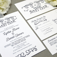 Handwritten Wedding Invitations Black and White Wedding Pocket Invite Rustic Wedding Invitation Suite Calligraphy Wedding Invites Monogram