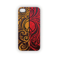 iPhone Case, 5, 4S/4, Ketchup Mustard Case,  Music, Peace, Protective, Red, Gold, Mustard, Yellow, Black, Music, Peace Sign, Paisley