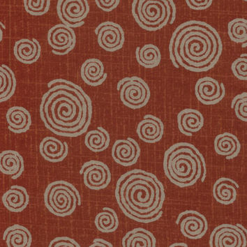 Swirls Red and Tan Japanese Cotton Quilting Fabric KW-3650-4C