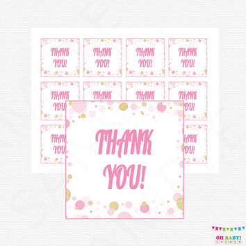 Baby Shower Favor Tags, Pink and Gold Baby Shower, Baby Shower Thank You Tags, Baby Shower Decorations, Baby Shower Favors, Tags, CB0003-PG