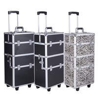 Pro 3 in1 Aluminum Rolling Makeup Cosmetic Train Case Wheeled Box 3 Color