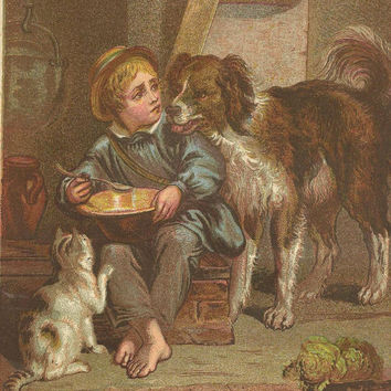 Boy With His Pets Original Color Print Litho Bookplate from 1882 Chatterbox Children's Book My Turn Now
