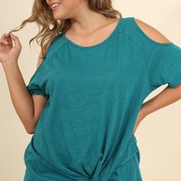 Knotted Aqua Beverly Top | Plus