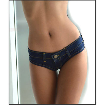 MOONIGHT Sexy Denim Summer Booty Thong Shorts Women Hot Sexy Holiday Party Night Disco Harley Quinn Jeans Shorts