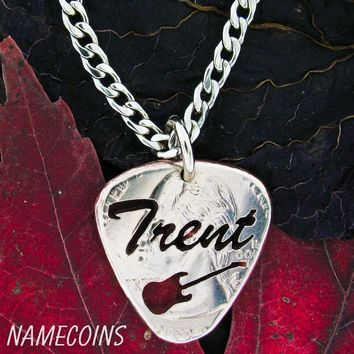 Guitar Pick with Custom Name Cut Quarter