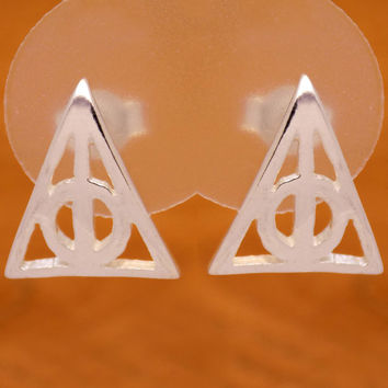Solid Sterling Silver Harry Potter Deathly Hallows Artifact Stud Earrings 925 Hallmark Hogwarts Impressive Marvelous Handmade Handcrafted
