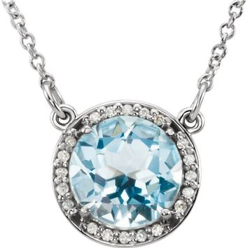 14k Gold Round Sky Blue Topaz & .05 CTW Diamond Halo Necklace