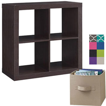 Walmart: Better Homes and Gardens Square 4-Cube Organizer with 4 Collapsible Fabric Storage Cubes, Mix and Match Colors