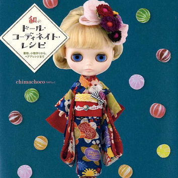 Japanese Style Doll Coordinate Recipe - Dolly-Dolly Books, Middie Blythe Clothes, Outfit, Barbie Doll, Kimono Dress, Hair Accessory, B1593