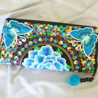 Butterfly wallet blue peony wallet zip around /Embroidered Wallet /Hmong wallet/ Tribal purse