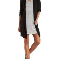 Draped Chiffon Longline Trench Coat by Charlotte Russe