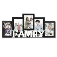 "Furnistar Decorative Black and White Wood ""Family"" Wall Hanging Picture Photo Frame"