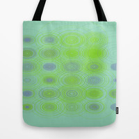 Lime blue purple circles Tote Bag by Lucine