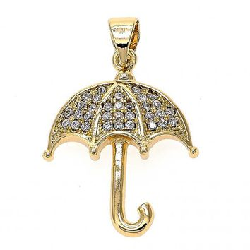 Gold Layered 05.166.0003 Fancy Pendant, Umbrella Design, with White Micro Pave, Polished Finish, Gold Tone