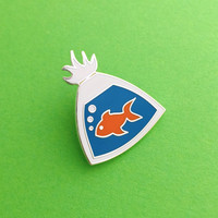 Fish In A Bag Enamel Lapel Pin Badge