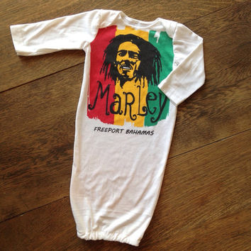 Bob Marley newborn baby gown- upcycled