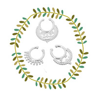 Tribal Faux Nose Ring Set, Silver Fake Septum Piercing