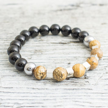 Black onyx and brown jasper stone beaded stretchy bracelet with silver plated hematite cubes and balls, mens bracelet, womens bracelet