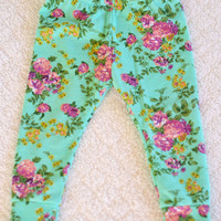 Girls Leggings Baby Leggings Toddler Leggings Turquoise Leggings Pink Floral Leggings
