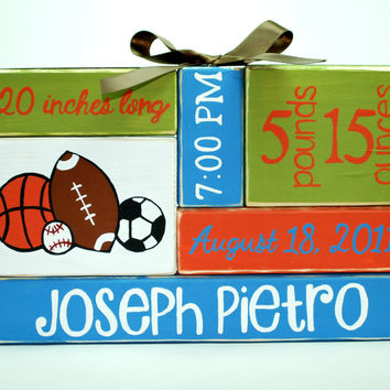 Custom Baby Birth Stats Boy Sports Nursery Decor WoodenBlock Shelf Sitter Stack