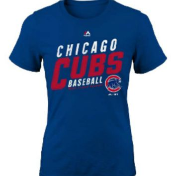 Youth Chicago Cubs Majestic Royal Girls S/S Bubblegum T-Shirt