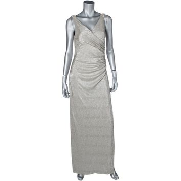 Lauren Ralph Lauren Womens Zilette Metallic Embellished Evening Dress