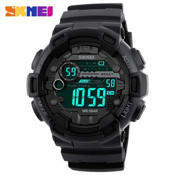 SKMEI Brand Men Sports Watches Army 50M Waterproof LED Digital Watch Dive Swim Outdoor Shock Military Wristwatches 1243