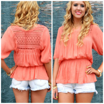Royalty Reign Coral Peasant Tunic