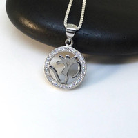 Om Necklace Sterling Silver Om Pendant Cz Om Silver Pendant Ohm CZ Yoga Medallion Zen Jewelry Everyday 16mm widht