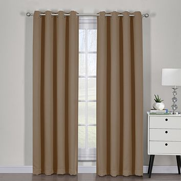 Cappuccino 54x63 Ava Blackout Weave Curtain Panels With Tie Backs Pair (Set Of 2)