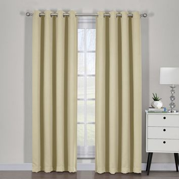 Beige Ava Blackout Weave Curtain Panels With Tie Backs Pair (Two Panels )