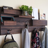 Coat Rack with Mail and Phone Storage Key Hooks Organizer