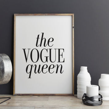 THE VOGUE QUEEN Vogue Typography Print Fashionista Fashion Wall Decor Print Modern Art Bedroom Home Decor White Vogue Gift Printable Art