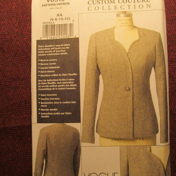 SALE Uncut Vogue Claire Shaeffer's Sewing pattern, 8519! 6-20 Small/Medium/Large/XL/Women's/Misses/Custom Couture/Lined Jacket/Button Closur